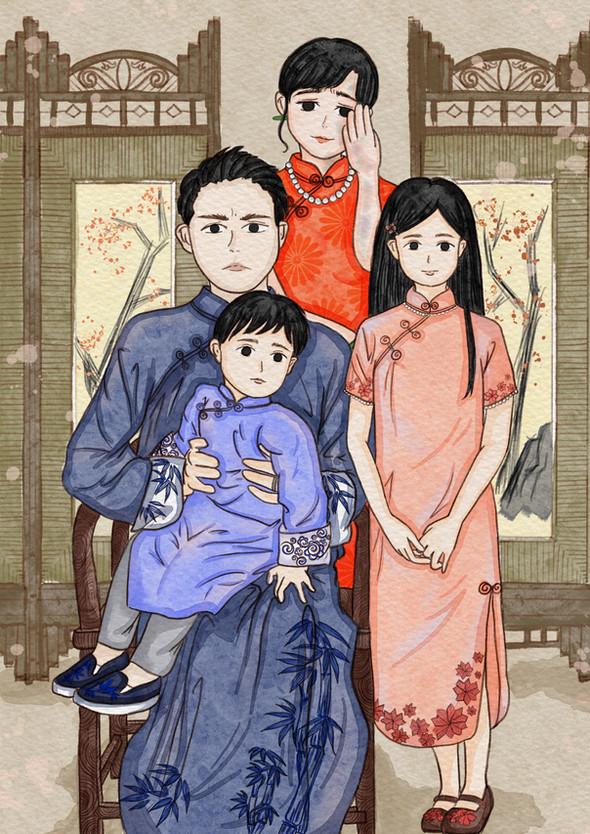 Family Portraits I, digital drawing, 21 x 29.7 cm, 2021