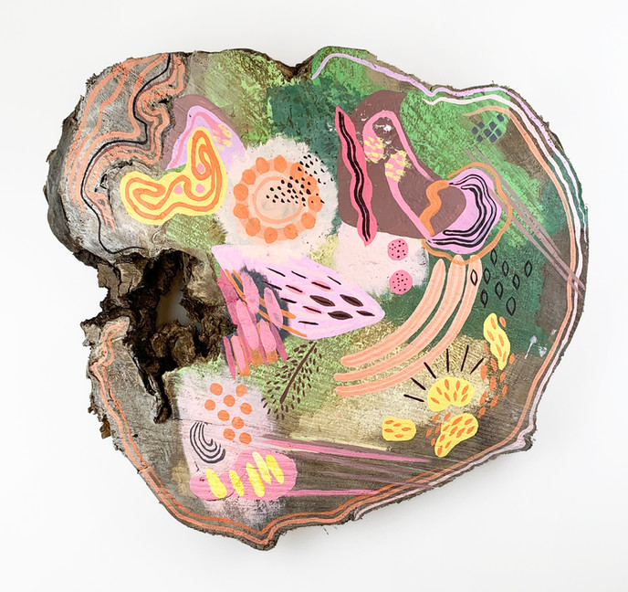 Flora, acrylicon log cookie, 23 in. diameter, 2021