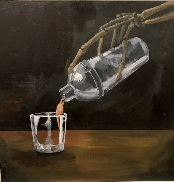 Down the Hatch and Between my Bones, acrylic on wood panel, 12 x 12 in., 2021
