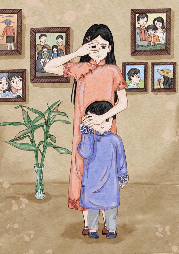 Family Portraits II, digital drawing, 21 x 29.7 cm, 2021