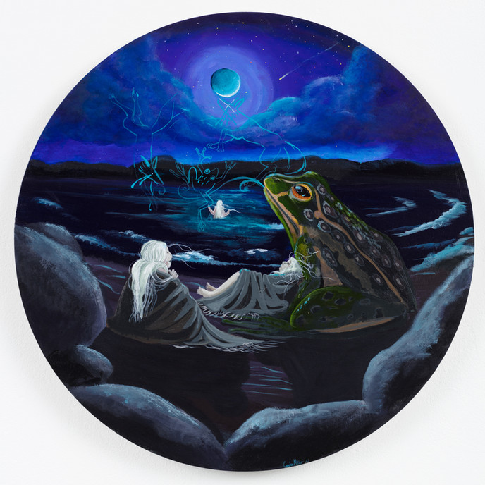 Frog Woman's Daughters, 20 in. diameter, acrylic on wooden panel, 2021
