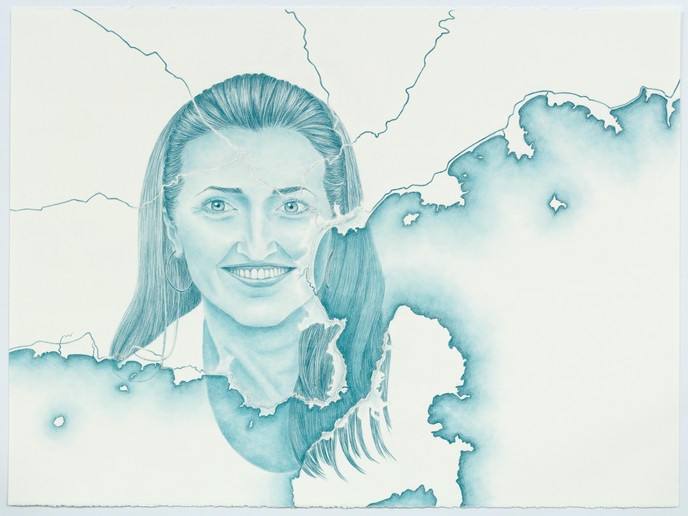 Sheila at São Sebastião and IIhabela, coloured pencil on paper, 57 x 76.5 cm, 2020