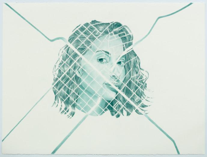 Aline at Avenida Paulista, coloured pencil on paper, 57 x 76.5 cm, 2020
