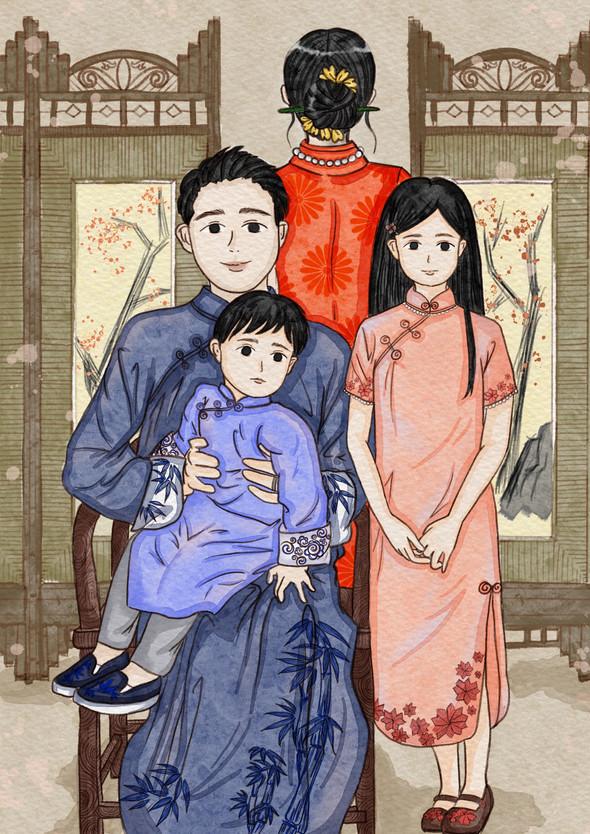 Family Portraits III, digital drawing, 21 x 29.7 cm, 2021
