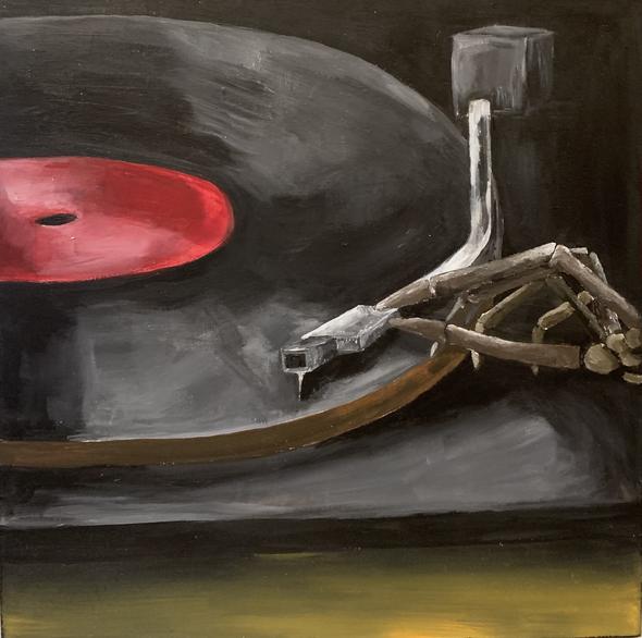 Death Metal, acrylic on wood panel, 12 x 12 in., 2021