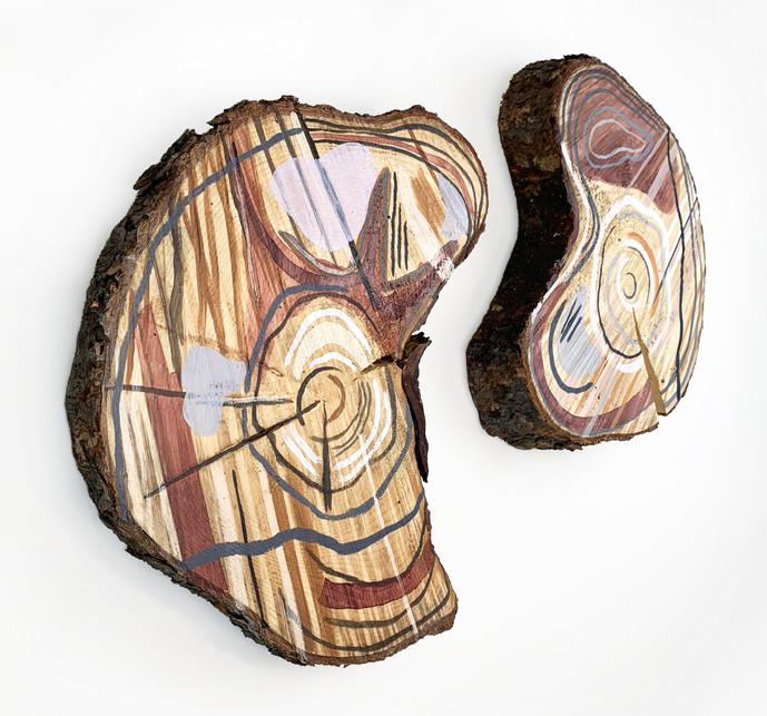 Seasonal Yin and Yang, acrylicon log cookie, 12 in. diameter, 2021