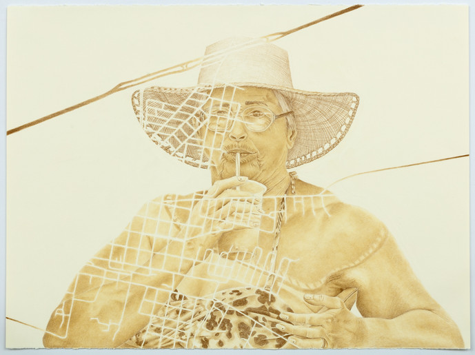 Maria de Lourdes (Vovó) in Guarantã, coloured pencil on paper, 57 x 76.5 cm, 2020