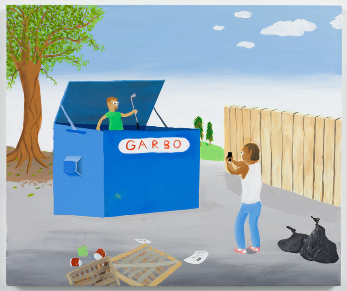 Dumpster Diving,acrylic on canvas, 40 x 48 in., 2020
