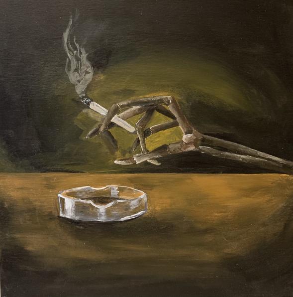 Ash Trays and Bone Breaks, acrylic on wood panel, 12 x 12 in., 2021
