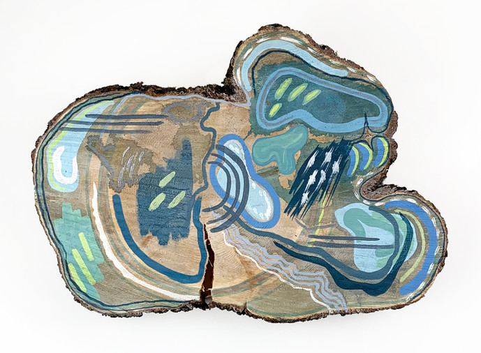 Ice, acrylicon log cookie, 17 x 13 in., 2021