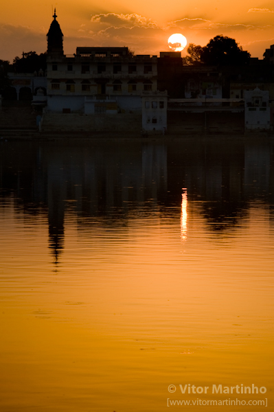"""Sunset at holy's Pushkar lake"""