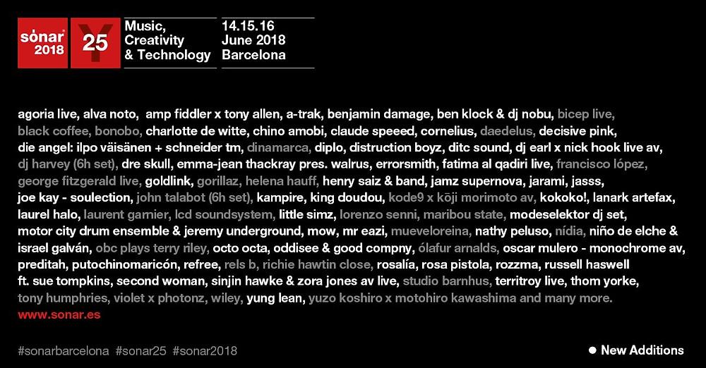 Programma Sonar Barcellona 2018