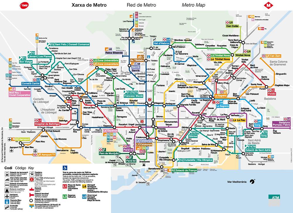 Trasporti pubblici a Barcellona - Mappa della metropolitana - Metro Barcelona