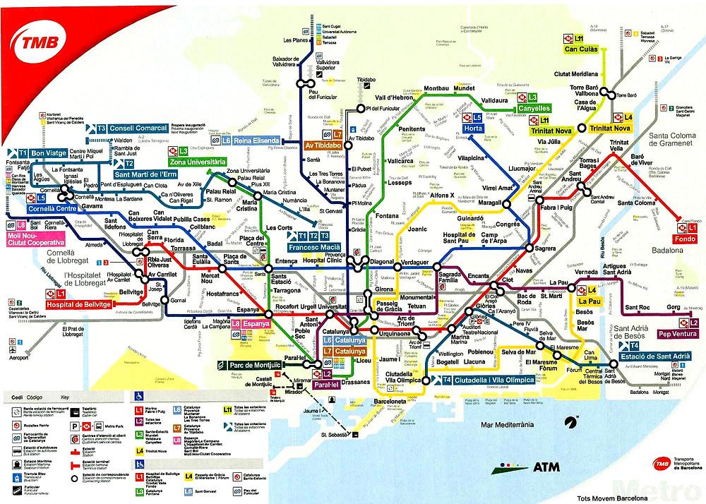 Mappa metropolitana - Metro Barcellona