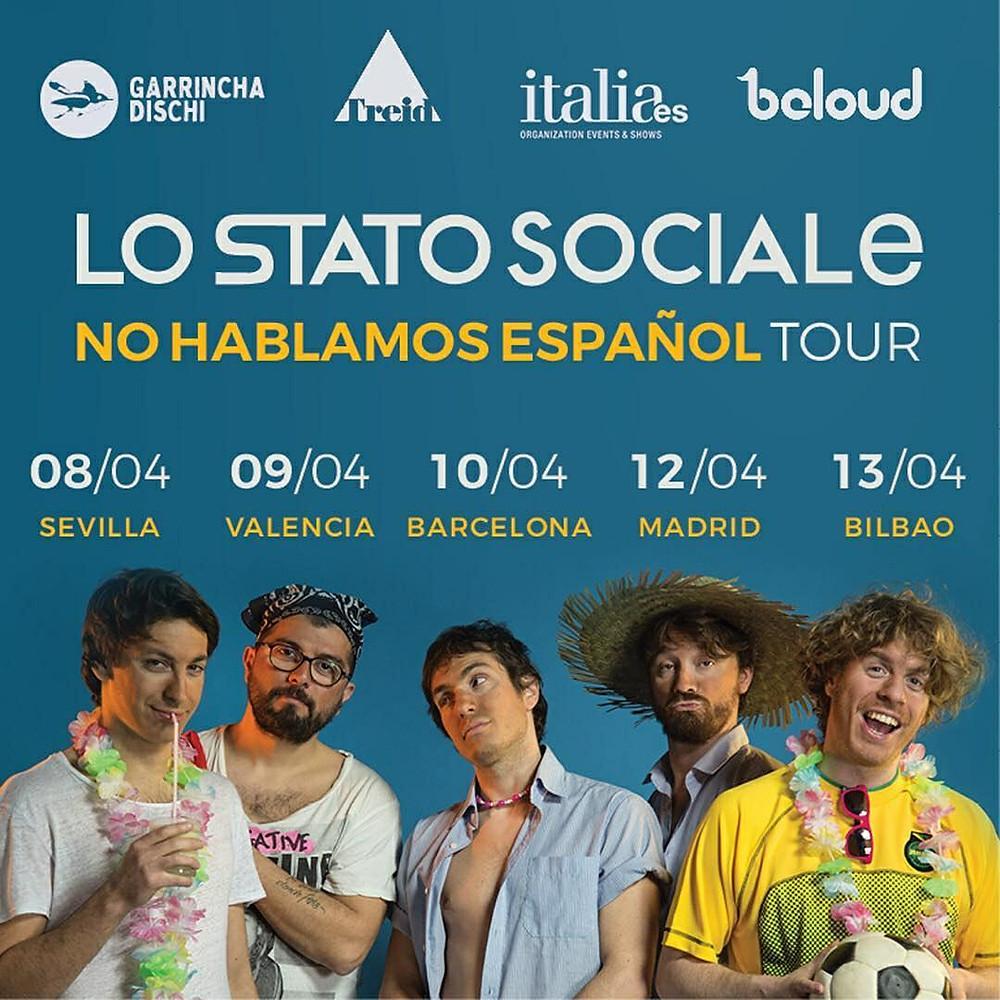 Lo Stato Sociale in concerto a Barcellona, Madrid, Bilbao, Siviglia, Valencia - Spagna - italiaes.org - Italiani a Barcellona