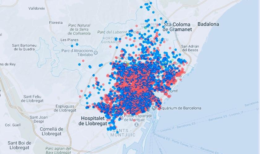 Mapa pisos turísticos ilegales Airbnb en Barcelona