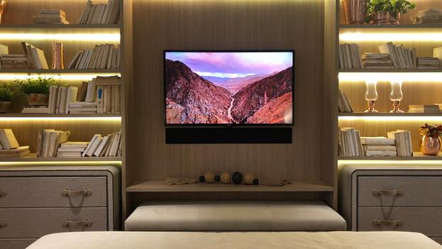 Magna NoFrame Soundbar com 02 canais Custom (feita sob medida na largura da televisão com acabamento preto mais couro) - Amplificação e Streaming Autonomic centralizado no rack - Cabeamento Straight Wire WaveGuide 16/2
