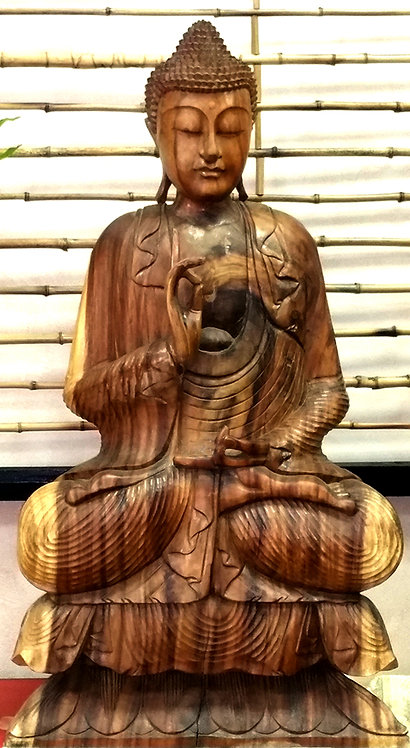 Hand Carved Solid Teak Wood Sitting Buddha Statue