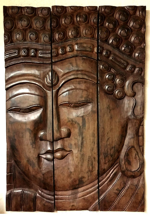 3 Wood Panels Hand Carved Head Buddha