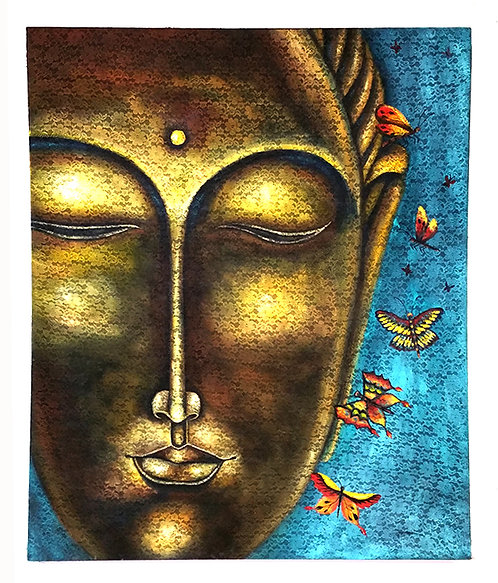 "Original Paint Head Buddha ""Oleo in Lace Fabric"""