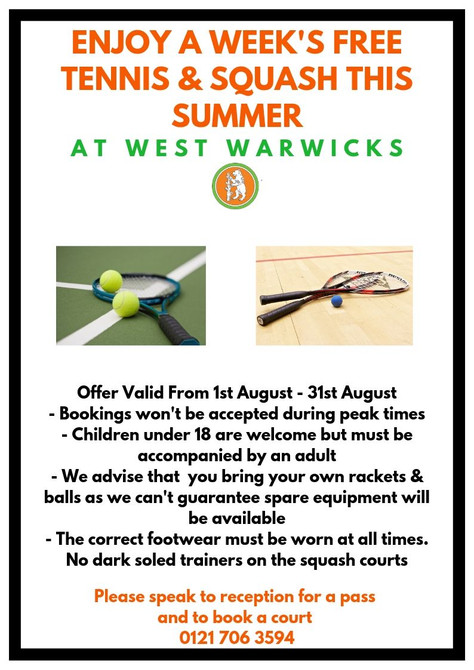 Enjoy A Week's Free Tennis & Squash