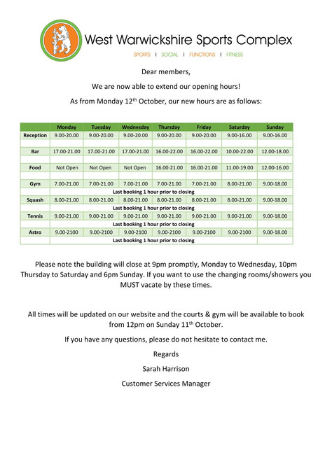 Opening Hours From 12/10/20