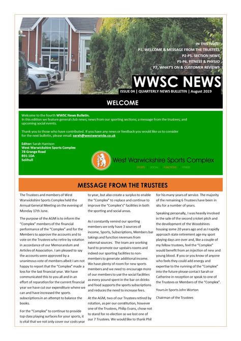 WWSC August 2019 Newsletter