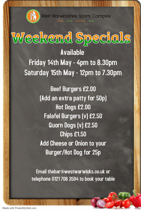 Weekend Special 14th & 15th May 2021