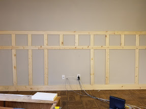 board and batten going up in the new studio