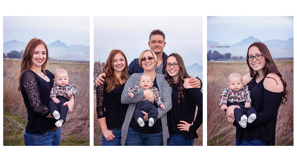 Family photo collage taken in the Sutter Buttes