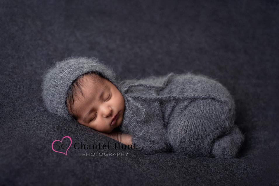 Yuba City Newborn Portrait in Gray Mohai
