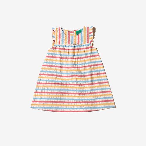 Corn Silk Seersucker Frill Dress