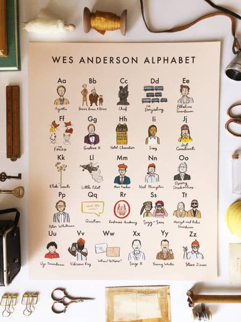 Wes Anderson Alphabet 16x20 Poster