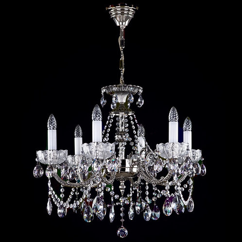 Crystal Chandelier CR 06-06  Antikk Nikkel- sotet krystall
