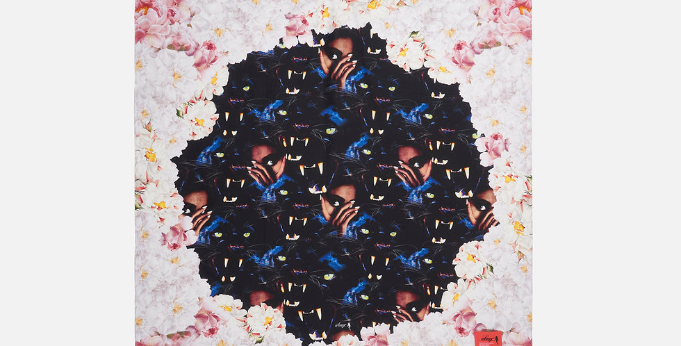 FLORAL BLACK PANTHER SILK SCARF