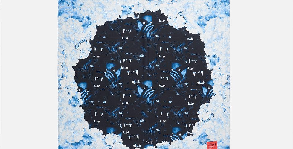 BLUE FLORAL BLACK PANTHER SILK SCARF