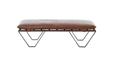 INDUSTRIAL LEATHER OTTOMAN