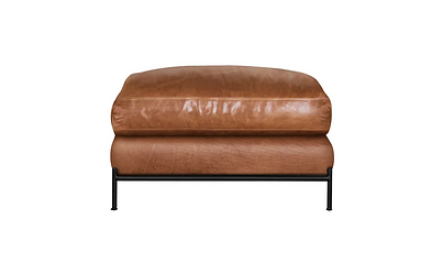 Cuba Metal Base Leather Ottoman