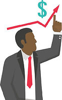 man in black suite pointing upward with red arrow and $ icon above his head