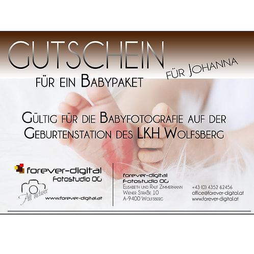 Gutschein für ein Babypaket / Babyfotografie im  LKH Wolfsberg