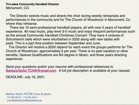 Job Opening for Tri-Lakes Community Handbell Director