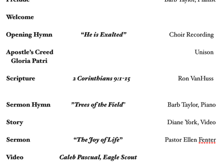 Order of Worship 10.18.2020