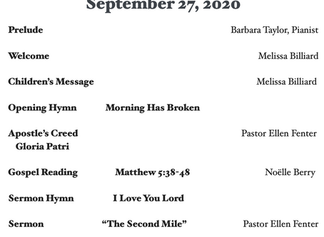Order of Worship for 9.27.2020