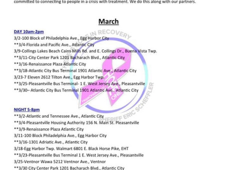 Hope One March Outreach Schedule is now listed under our events.