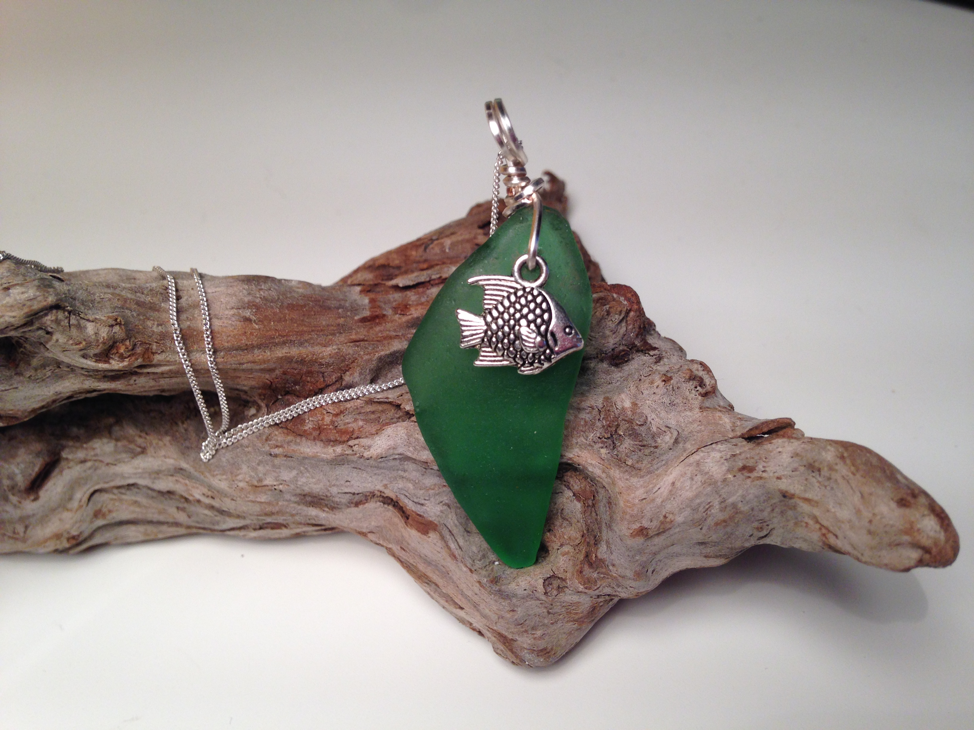 Drilled sea glass pendent