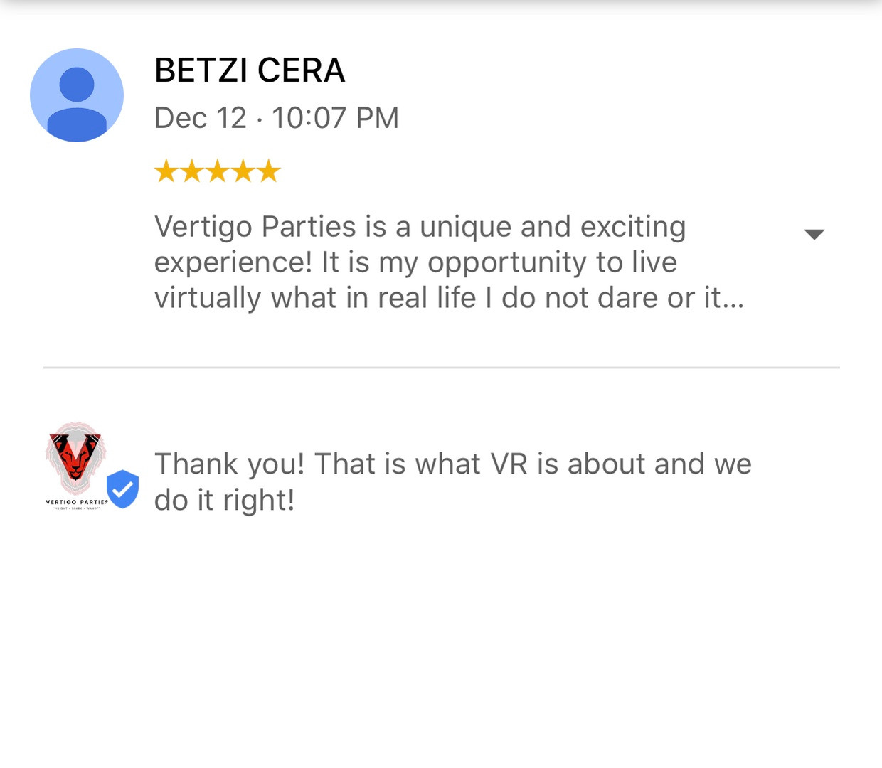 Google Review for Vertigo Attractions and Parties