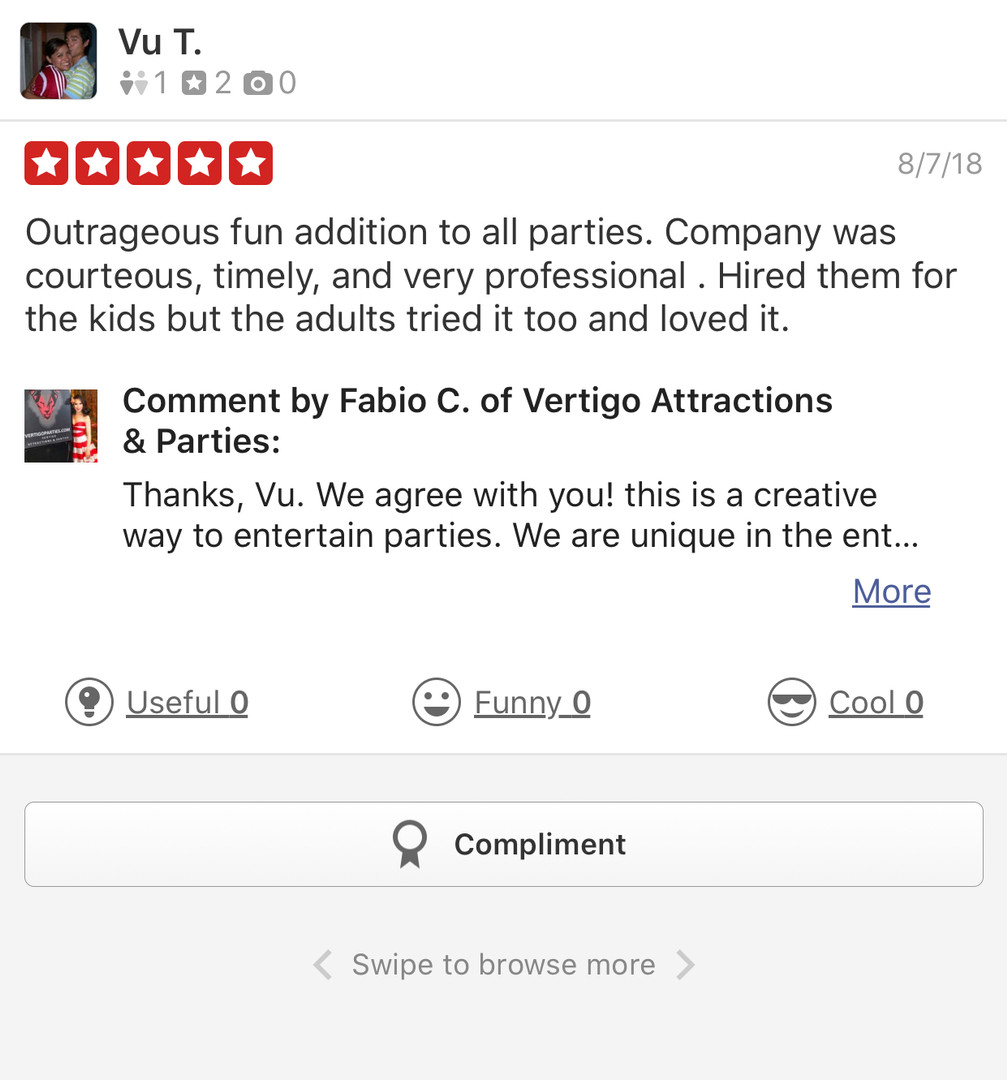 Yelp Review for Vertigo Attractions and Parties