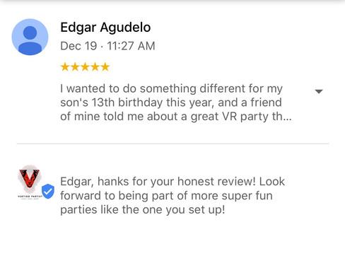 Google Review for Vertigo Attractions and Parties