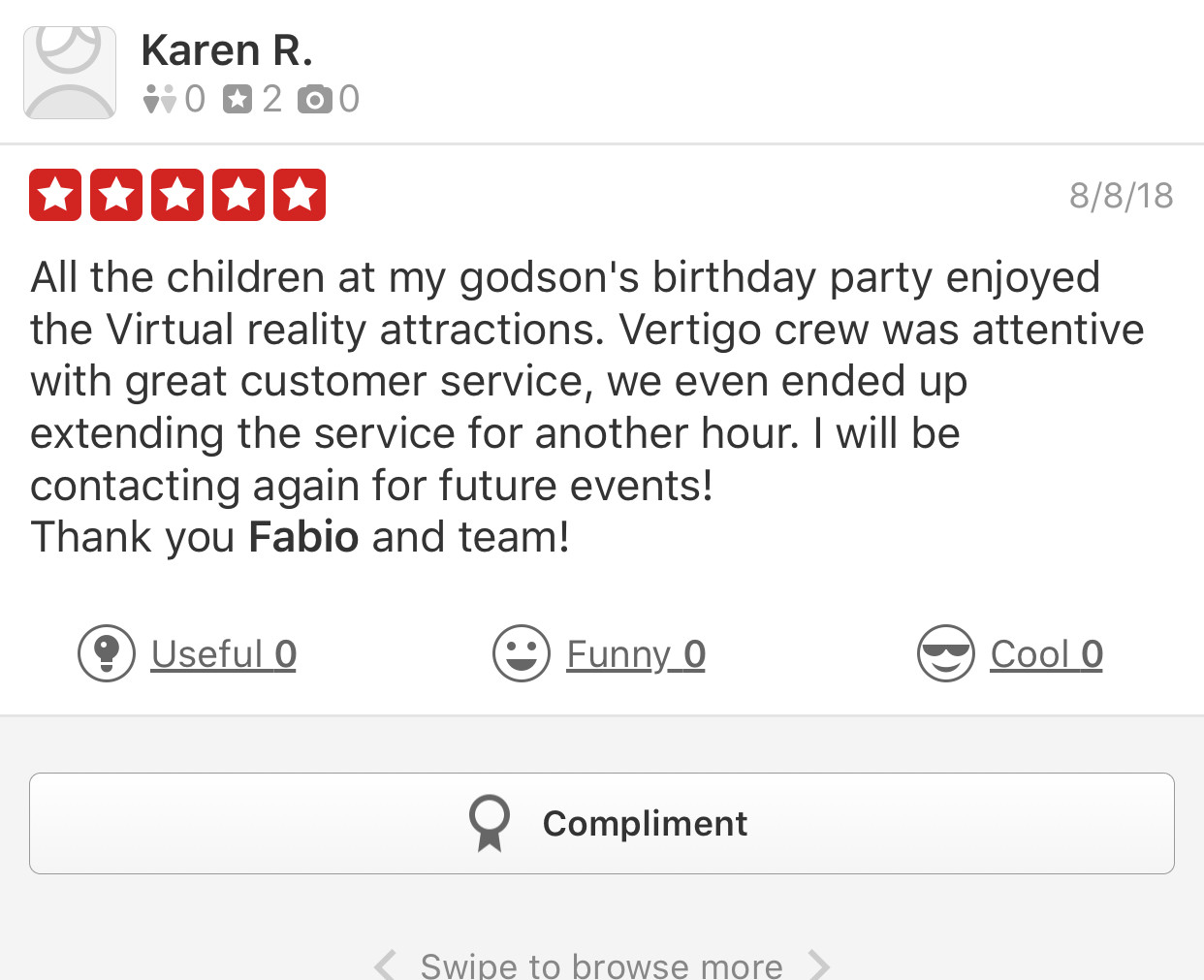 Yelp Review for Vertigo Attractions and Parties.JPEG
