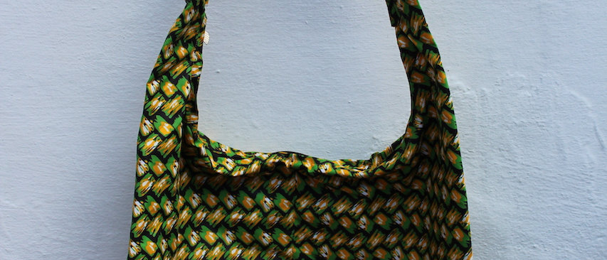 African Print Shopper Bag -Green Splash buy ArtAndPatterns.com
